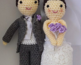 Deluxe Bride and Groom Dolls - Crochet Wedding Figures by Little Gems Crochet - The perfect wedding gift!