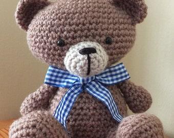 Handmade Crochet Bear by Little Gems Crochet - amigurumi teddy bear with gingham ribbon (Beau Bears)