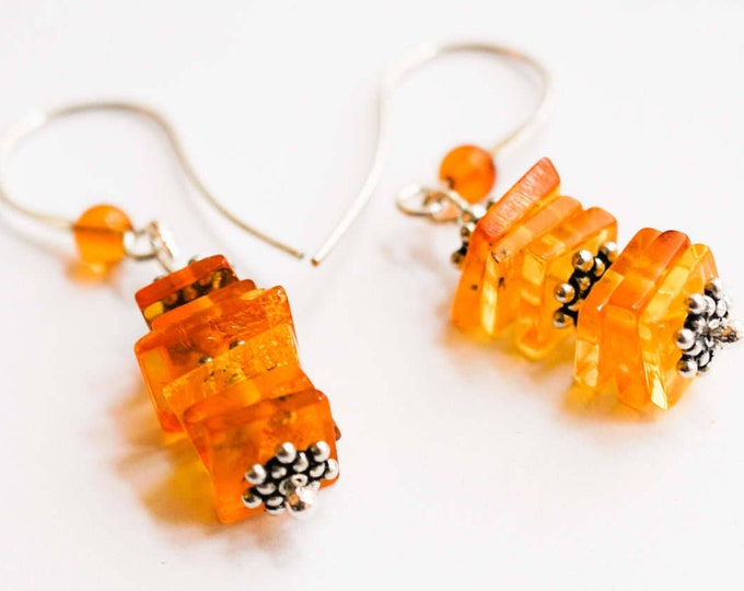 3g. Baltic Amber Earrings, Yellow Amber Earrings, Honey Amber Earrings, Earlobe Earrings, Gift