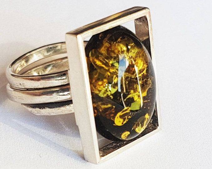 6g. Green Amber Ring, Baltic Amber Ring, Gift Ring