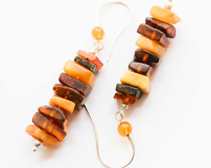 5,6g. Natural Baltic Amber Earrings, Yellow, Cognac Amber Earrings, Genuine Amber Earrings, Gift for Wife Girlfriend