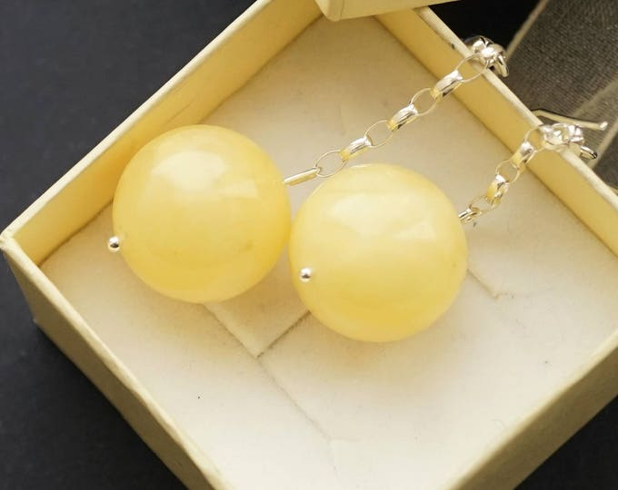 Baltic amber earrings, D:17mm