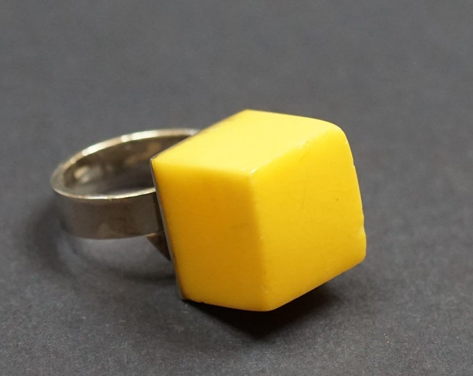 9g. Natural Butterscotch Baltic Amber Ring, Untreated Amber, Cube Amber Ring, Unisex Ring