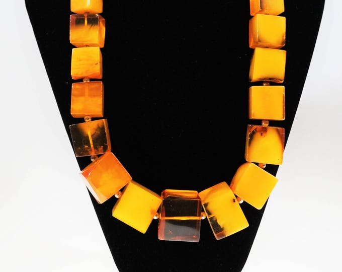 211g. Huge Necklace Natural Baltic Amber, Genuine Butterscotch Amber, NOT Pressed, Antique Amber