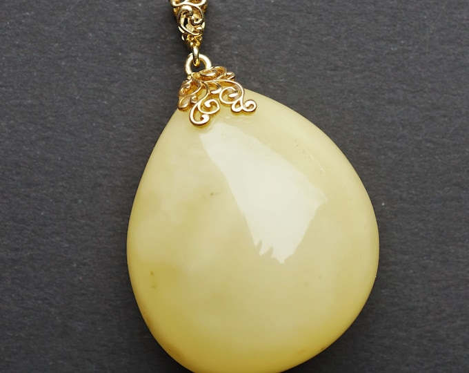 12.2g Natural White Baltic Amber Pendant, Genuine, Untreated Amber, Not Modified Amber