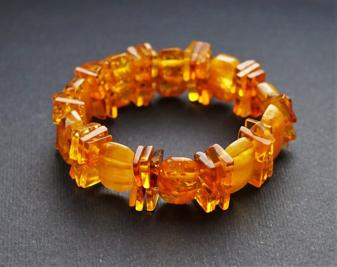 9.5g.Yellow Baltic Amber Bracelet, Genuine Amber Bracelet, Beaded Bracelet, Amber Beads, Organic, Natural