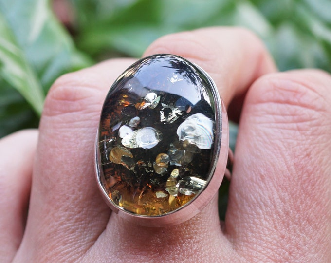 12g. Large Green  Baltic Amber Ring, , Sterling Silver, Adjustable Ring, Oval Ring