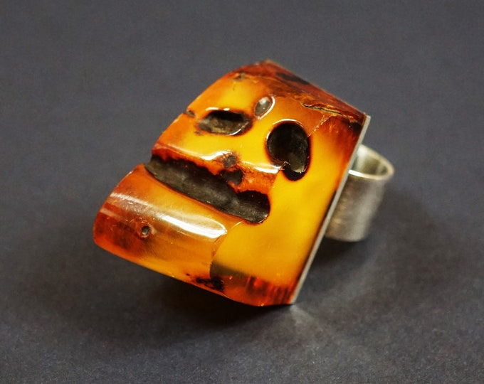 32.8g  Huge Baltic Amber Ring E.Salwierz Design, Male Ring