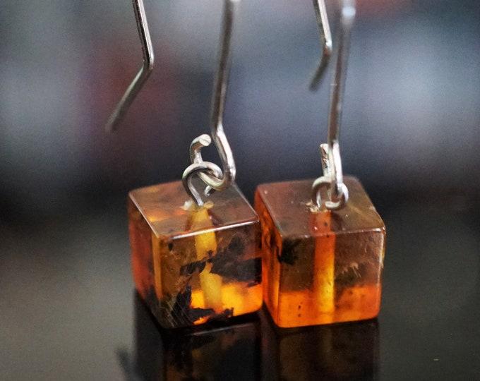 Cognac Baltic Amber Sterling Silver Earrings, Cube Amber Earrings