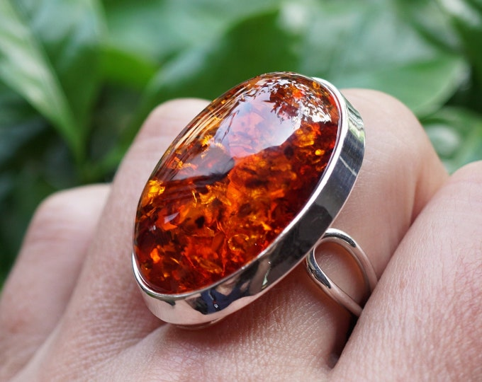 13,6g. Large Cognac Baltic Amber Ring, Sterling Silver, Adjustable  Ring