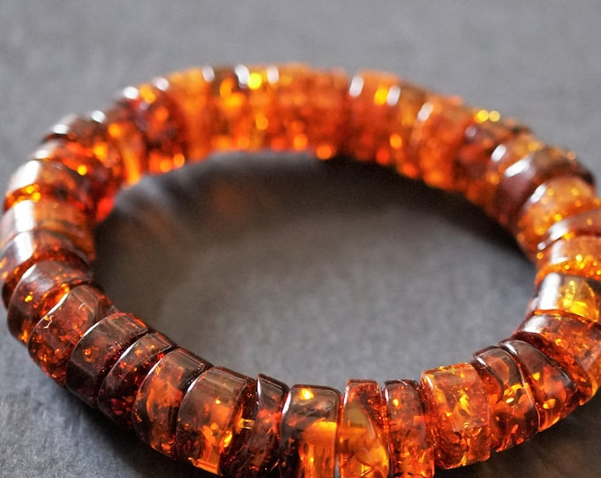 12,7g. Natural Baltic Amber Bracelet, Amber Donut Bracelet, Cognac Amber
