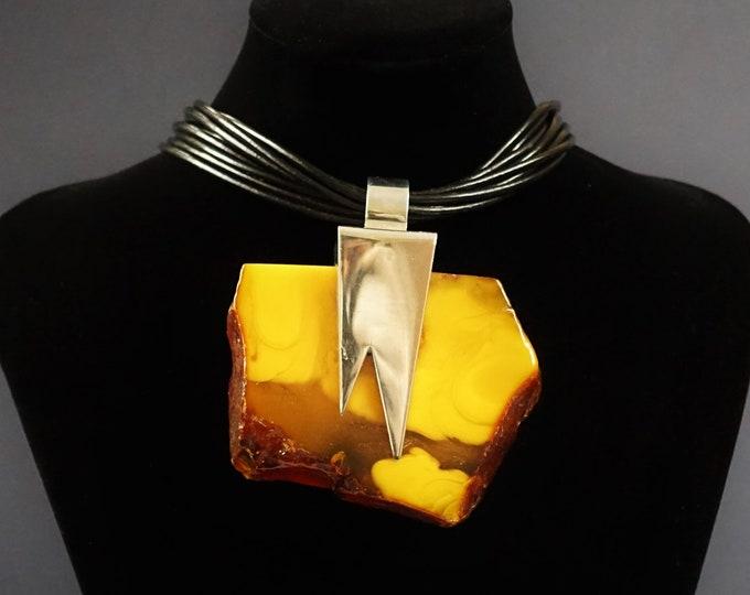143g Huge Natural Amber Pendant, Artistic Amber Pendant, Classy Pendant,Unique Amber Pendant, Necklace