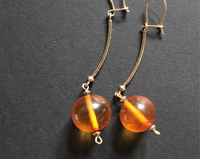 Yellow Baltic Amber Ball Earrings, Long Earrings, Sterling Silver Gold Plated, Diameter 14mm