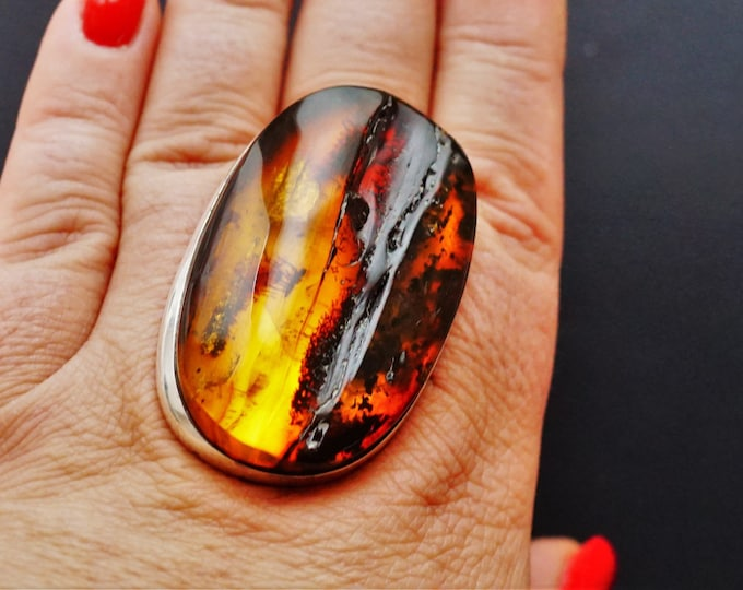 33,6g. Massive Unique Baltic Amber Ring, Genuine Amber Ring, Oversized Ring, Unique Gift, Collectors Piece,