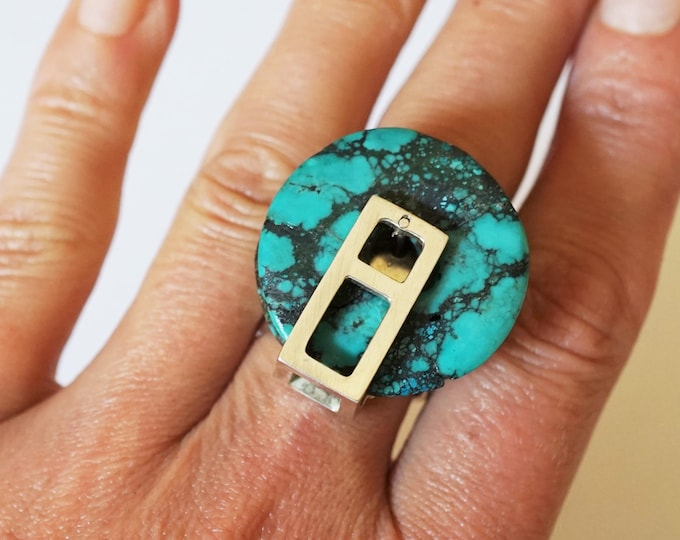 Handmade Sterling Silver Turquoise   Ring 18g