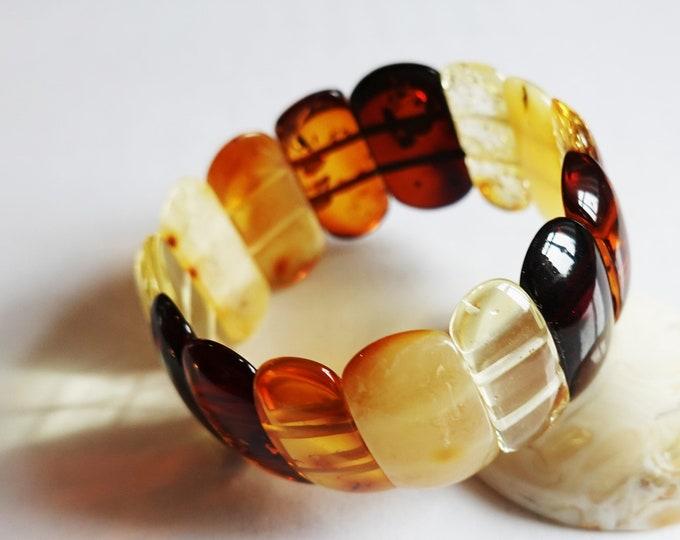 21,5g Multicolour Amber Bracelet, Genuine Amber Bracelet, Beaded Bracelet