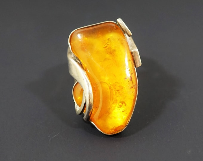 Vintage Ring Amber Silver Ring