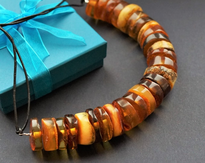 70g Elegant Baltic Amber Donut Necklace, Natural Baltic Amber, Multicolour Amber