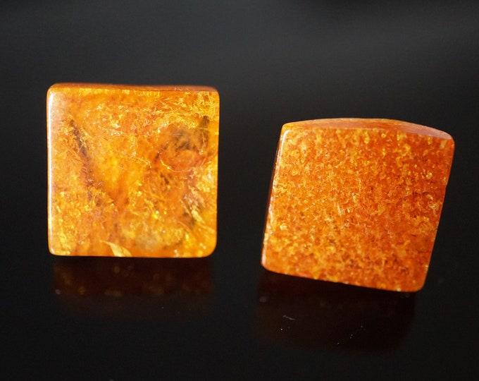 Yellow Orange Natural Baltic Amber Stud Earrings, Square Earrings