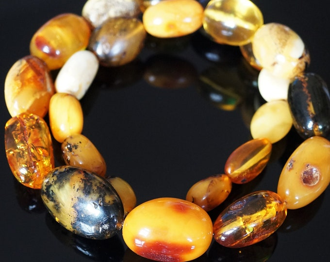 108g. Huge Natural Baltic Amber Bead Necklace, Multicolour Baltic Amber Necklace, Unique Baltic Amber Bead Necklace,Untreated Amber