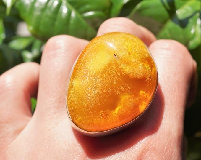 26.3g Large Baltic Amber Ring, Honey Amber, Egg Yolk Amber Ring, Large Amber Ring, Gift, Big Bold Ring