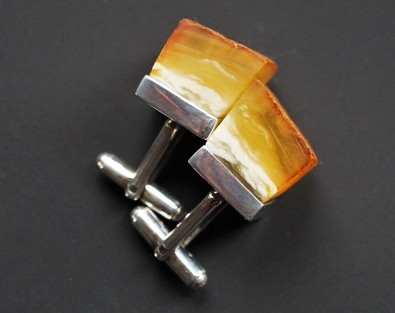 15.2g Amber Cufflinks, Natural Amber Cuff Links
