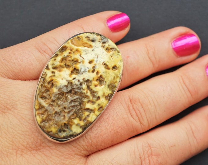 20g. Original, Artistic White Amber Ring, Unique Amber Ring, Oversized Amber Ring