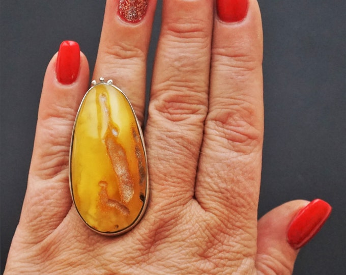 20,3g. Baltic Amber Ring, Honey Amber, Egg Yolk Amber Ring, Large Amber Ring, Gift, Unique Amber Ring