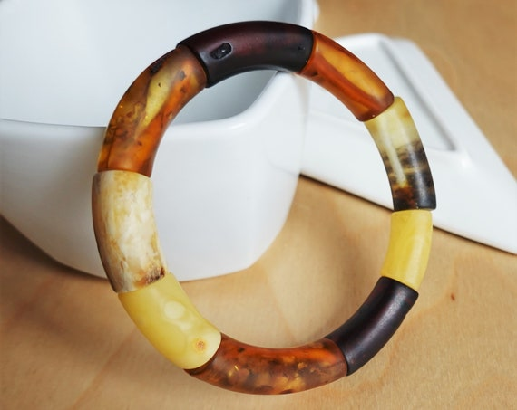 21,2g Multicolour Baltic Amber Bracelet, Genuine Amber Bracelet, Beaded Bracelet