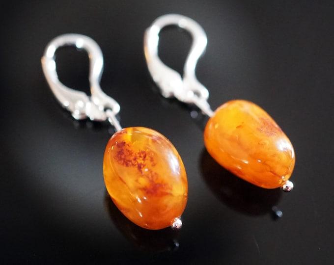 2,4g. Honey Butterscotch  Baltic Amber Sterling Silver Earrings