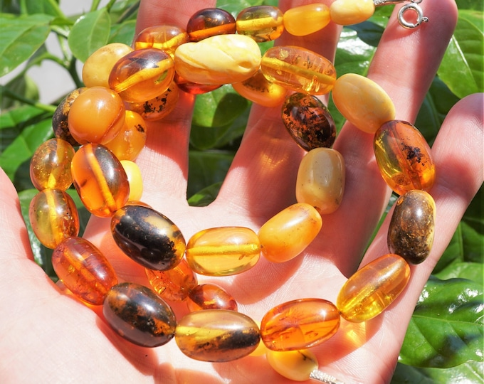33,3g. Baltic Amber Bead Necklace, Multicolour Baltic Amber Necklace, Olive Beads