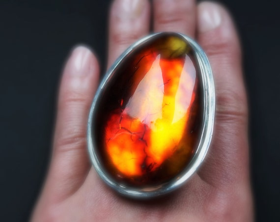 63g. Massive Unique Baltic Amber Ring, Huge Amber Ring, Genuine Amber, Sterling Silver, Posh Ring, Oversized Ring