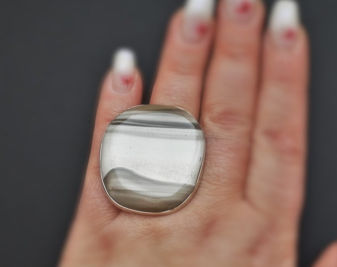 26g  Big Striped Flint Ring, Sterling Silver Ring, Oversized Ring