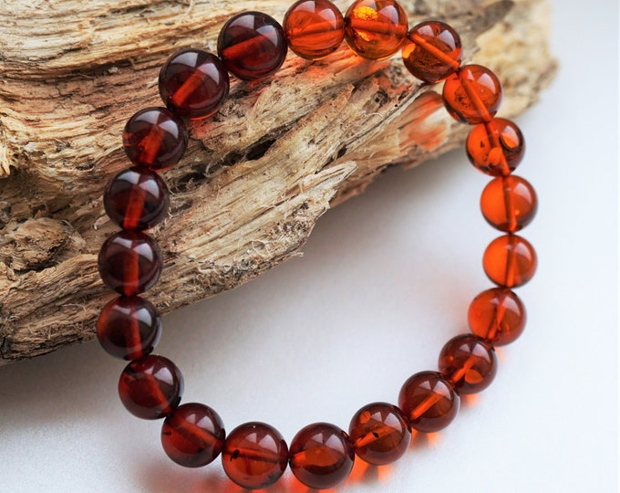 10mm. Cherry Baltic Amber Bracelet, Genuine Amber, Ball Amber Bracelet, Beaded Bracelet