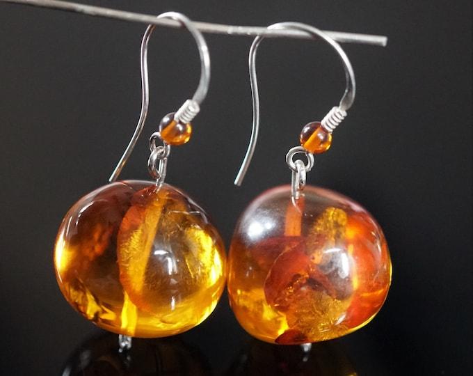 11g. Huge Cognac Baltic Amber Earrings, Baroque Shape Baltic Amber Earrings, Ball Amber