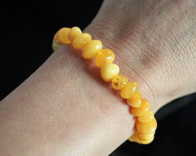6,6 Handmade Natural Baltic Amber Bracelet, White Yellow Butterscotch Baltic Amber