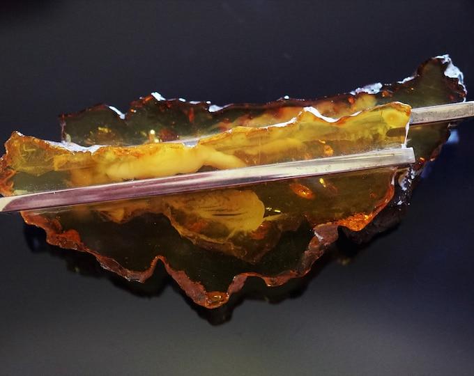 27,8g Unique Baltic Amber Sterling Silver Brooch, E. Salwierz Design