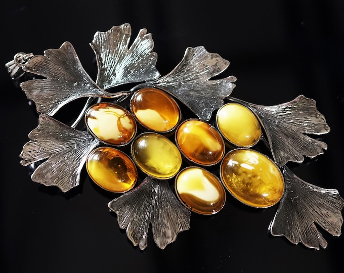 32g Huge Sterling Silver Baltic Amber Pendant/ Necklace, Leaf Pendant, Yellow Butterscotch White Amber