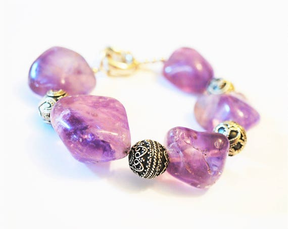 Handmade Sterling Silver Amethyst  Bracelet Charms