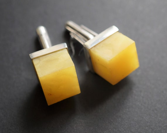 12.5g. Baltic Amber Cufflinks, Milky Amber, Yellow Amber Cufflinks, Butterscotch Amber Cufflinks, Gemstone Cufflinks, Gift