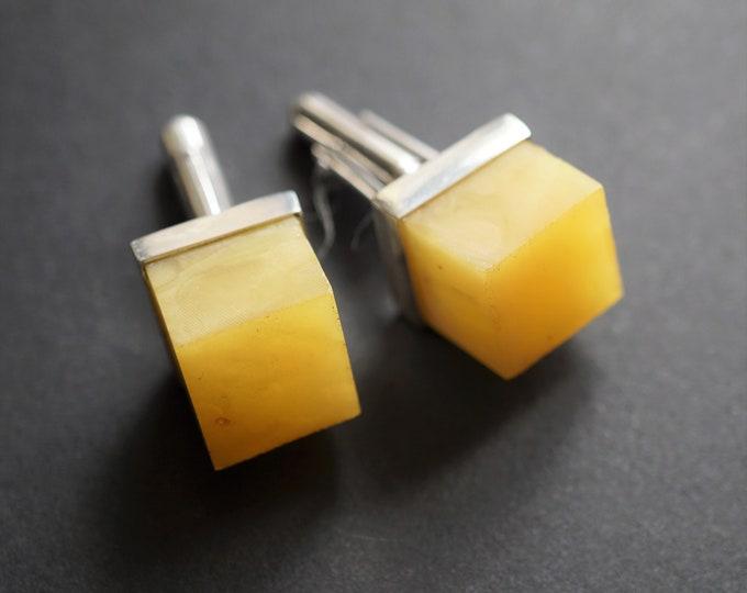 12.5g. Baltic Amber Cufflinks, Milky Amber, Yellow Amber Cufflinks, Butterscotch Amber Cufflinks, Gemstone Cufflinks, Gift
