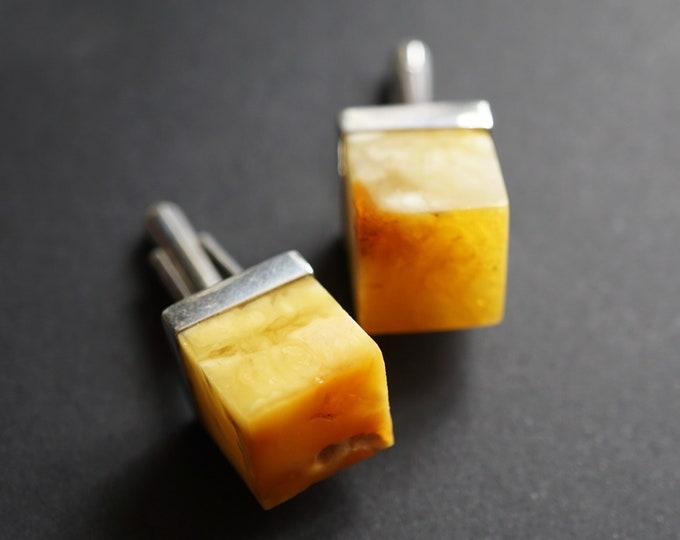13.3g. Baltic Amber Cufflinks, Milky Amber, Yellow Amber Cufflinks, Butterscotch Amber Cufflinks, Gemstone Cufflinks, Gift