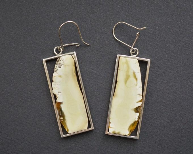 16g. White Baltic Amber Sterling Silver Earrings
