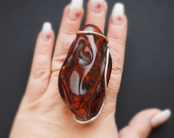 63g. Massive Unique Baltic Amber Ring, Cherry Amber Ring, Huge Amber Ring, Genuine Amber, Sterling Silver, Posh Ring, Oversized Ring