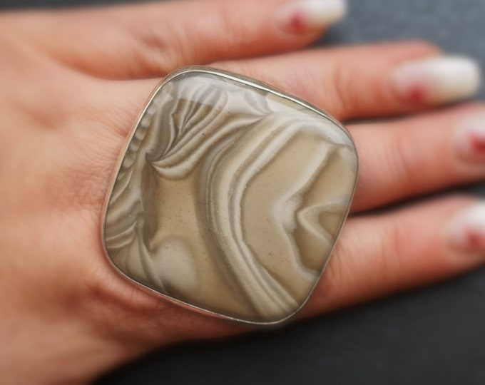 44,7g  Huge Striped Flint Ring, Sterling Silver Ring, Oversized Ring