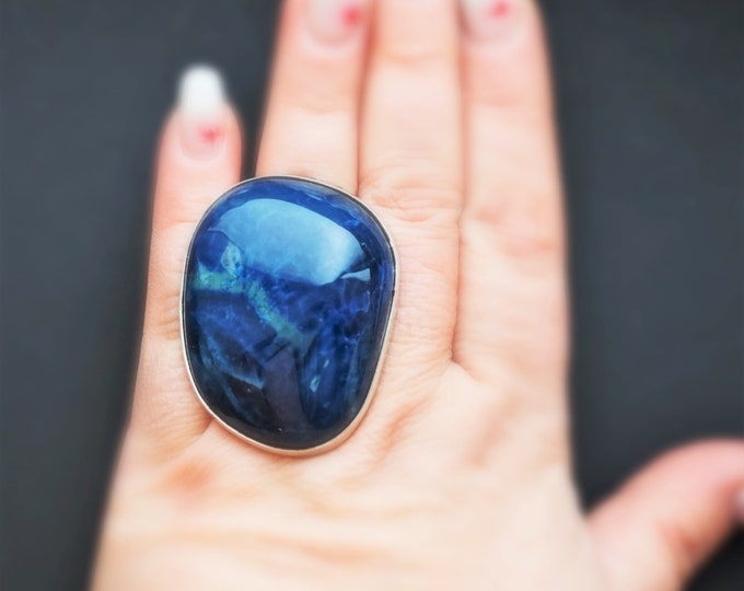 45g  Huge Blue Agate Ring, Sterling Silver Ring, Oversized Ring, Blue Agate