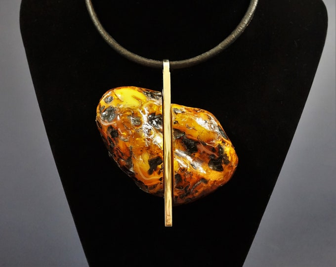 130g Huge Natural Amber Necklace/ Pendant, Artistic Amber Pendant, Classy Pendant,Unique Amber Pendant, Necklace