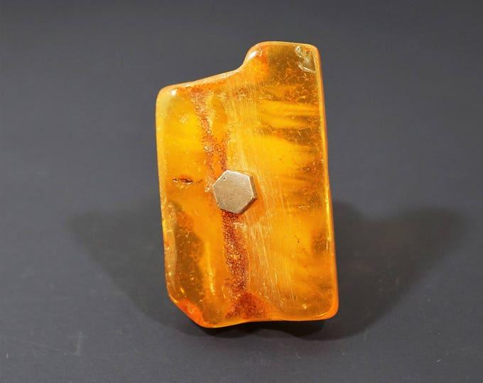 24g. Baltic Amber Ring, Mens Ring, Unisex Ring, Genuine Amber Ring, Organic, Adjustable Ring, Yellow Amber Ring, Honey Amber