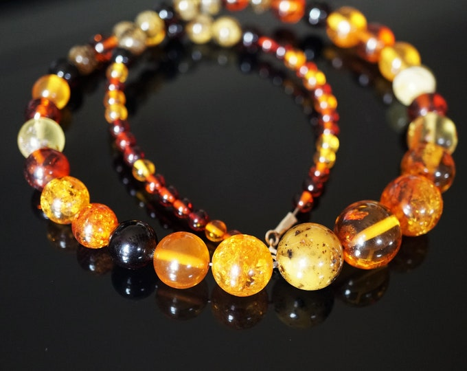 26g. Multicolour Ball Baltic Amber Necklace, Genuine Amber Necklace, Beaded Necklace