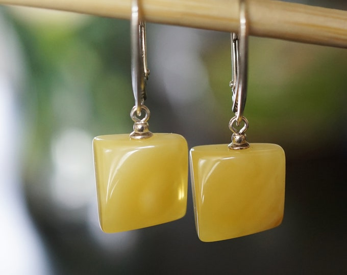 2g Natural Baltic Amber Earrings, Yellow/Milky Amber Earrings, Dangle Earrings